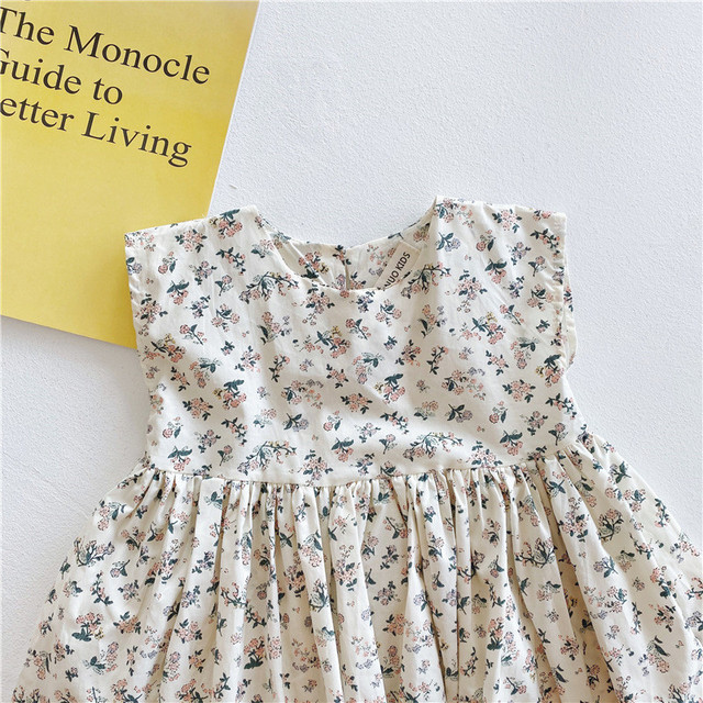 2020 Summer Baby Girls Floral Printed Dress Korean Style Toddlers Kids Sleeveless Dresses Children Clothes