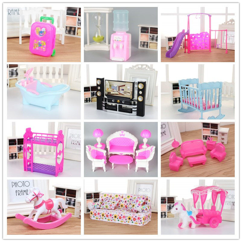 Mix Lols Doll Plastic Furniture Washing Machine Cradle Bed Sofa Electric Car Drinking Fountain For Lols Doll Kellyes Accessories