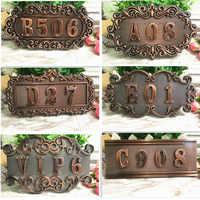 ABS imitación metal bronce antiguo cobre casa número personalizado signo puerta número pegatina para puerta de hotel apartamento Villa