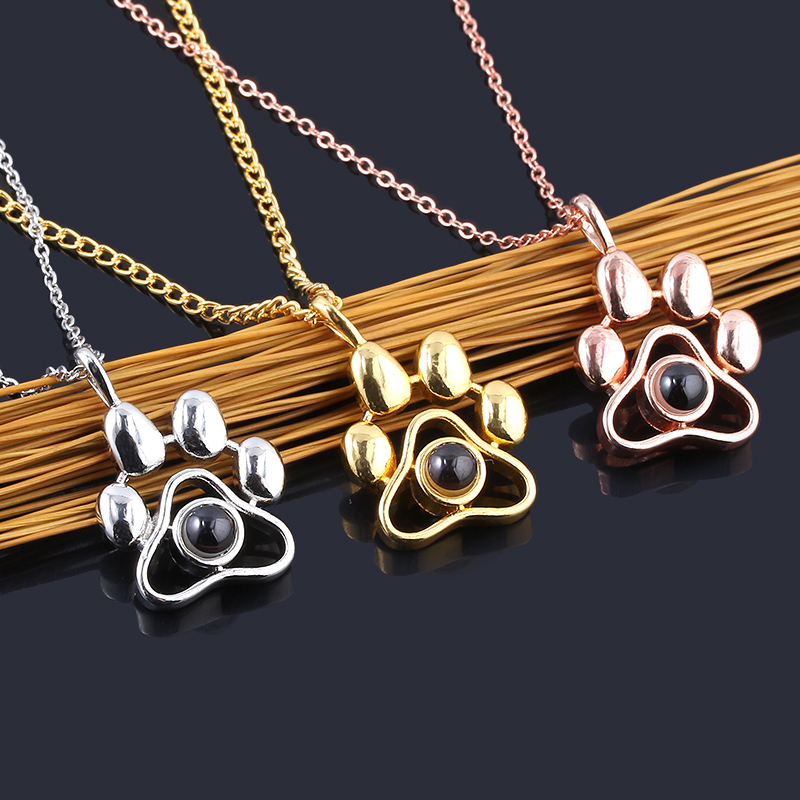 Dropshipping New 100 languages I Love You Projection Necklaces Cat Dog Paw Pendant Choker Chain Pet Animal Memory Jewelry Gift|Pendant Necklaces|   - AliExpress