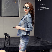 Women Fashion Spring autumn New Short Jeans Overcoat Ladies Jackets Tops Turn Down Collar Slim Top For Women Denim Jacket YFY151(China)