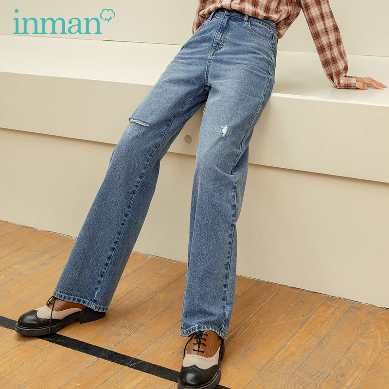 INMAN 2020 Autumn Winter New Arrival Medium Waist Slim Straight Denim Cotton Worn Washed Women Casual Pants