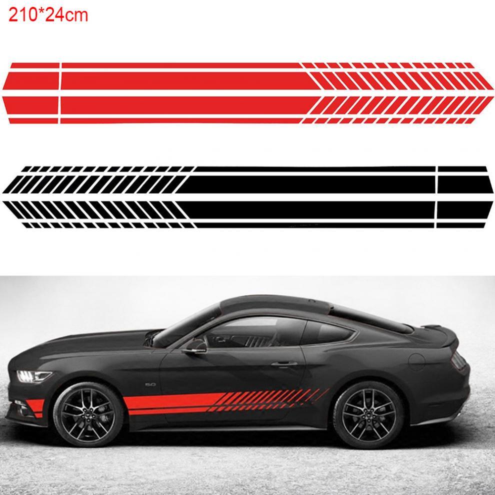 Vinyl Waterproof Stripes Racing Graphics Waistline Sticker Grey /& Black Pairs