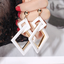 European and American retro exaggerated acrylic earrings Korean geometric fashion temperament Joker women