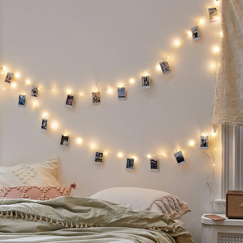 10M 100LED Photo Clip Light String Battery Or USB Power Bedroom Living Room Fairy Garland Christmas Wedding Photo Decoration