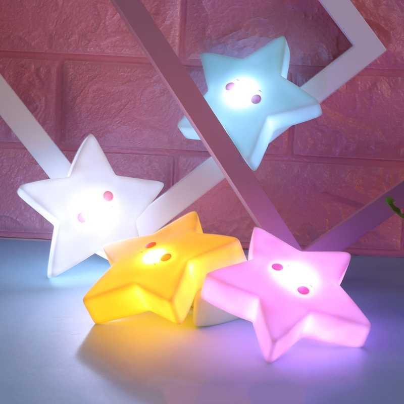 1 adet sevimli 3D yıldız LED gece lambası duvar uyku lambası bebek çocuk yatak odası ev dekor çocuklar çocuk aydınlık oyuncaklar bebek uyku ışık