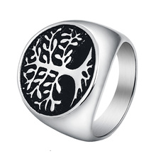 Punk Stainless Steel Titanium Tree Of Life Ring Silver Gold Color Rings For Men Jewelry Bague Homme Drop shipping