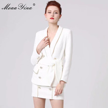 MoaaYina projektant mody pas startowy garnitur wiosna kobiety z długim rękawem dwurzędowy szalik elegancki garnitur topy + krótkie spódnica dwuczęściowy zestaw