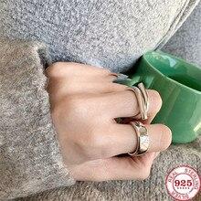 YIKUF88 женщины кольцо s925 стерлинговое серебро нестандартные линии глянцевый широкий кольцо изысканные ювелирные изделия для женщин