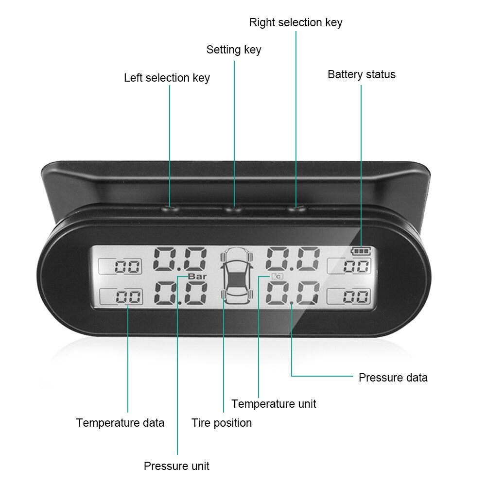 Автомобильный TPMS Солнечный с 4 внешними датчиками Универсальный лобовое стекло черный авто цифровой контроль давления в шинах Система монитор