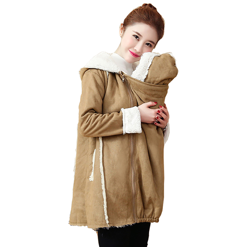 Autumn Coat For Pregnant Womens Size M-2XL Maternity Hoodies Women Kangaroo Baby Carrier Jacket Outerwear Warm Wool Liner