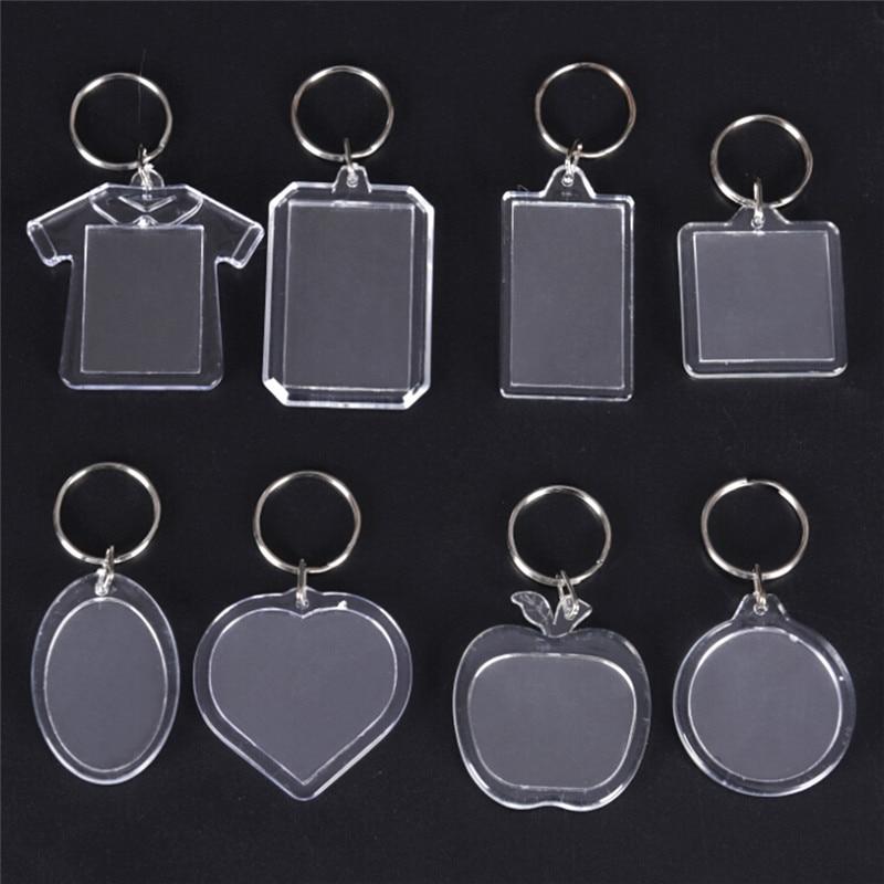 5PCS Rectangle Heart Round Style Keychain Transparent Blank Acrylic Insert Photo PictureFrame Keyring DIY Split Ring Gift 5*4 CM