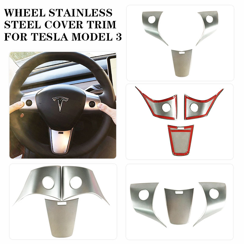 Wheel Stainless Steel Cover Trim Button Decoration Cover Trim For Tesla Model 3 18-20