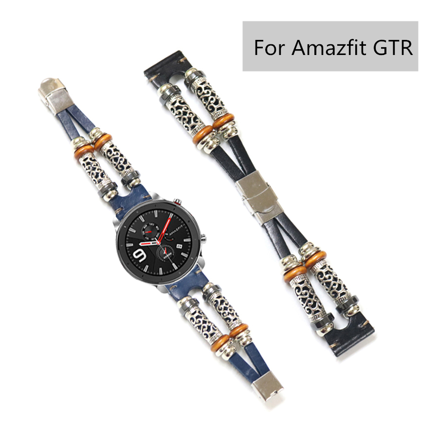 For Amazfit GTR Strap Genuine Leather Beading Watchband Bracelet For Huami Amazfit Bip/Pace/Stratos 2 2S Watch Band 20mm 22mm