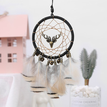 Elk Dream Catcher Car Hanging Pendant Handmade Knitted Cotton Dreamcatcher With Feathers Net Room Wall Decoration