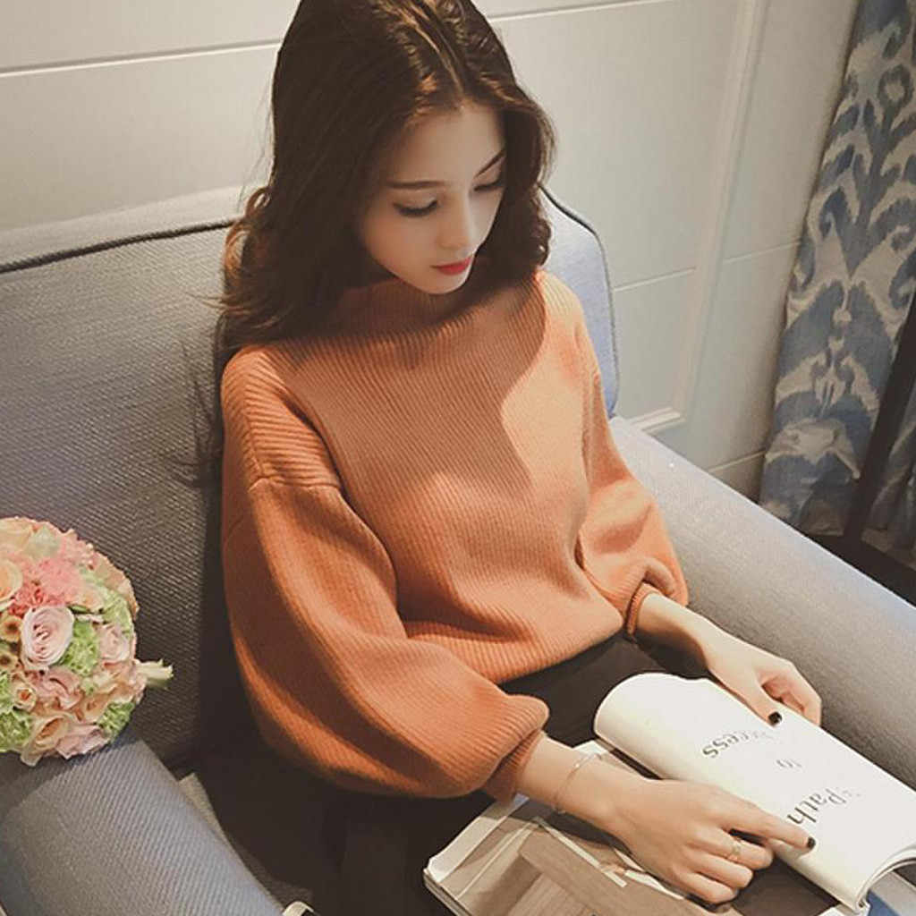 Autumn Winter Sweater Women Long  Lanter Sleeve Solid Turtleneck Knitting Tops slim long sleeve badycon sweater cheap #10