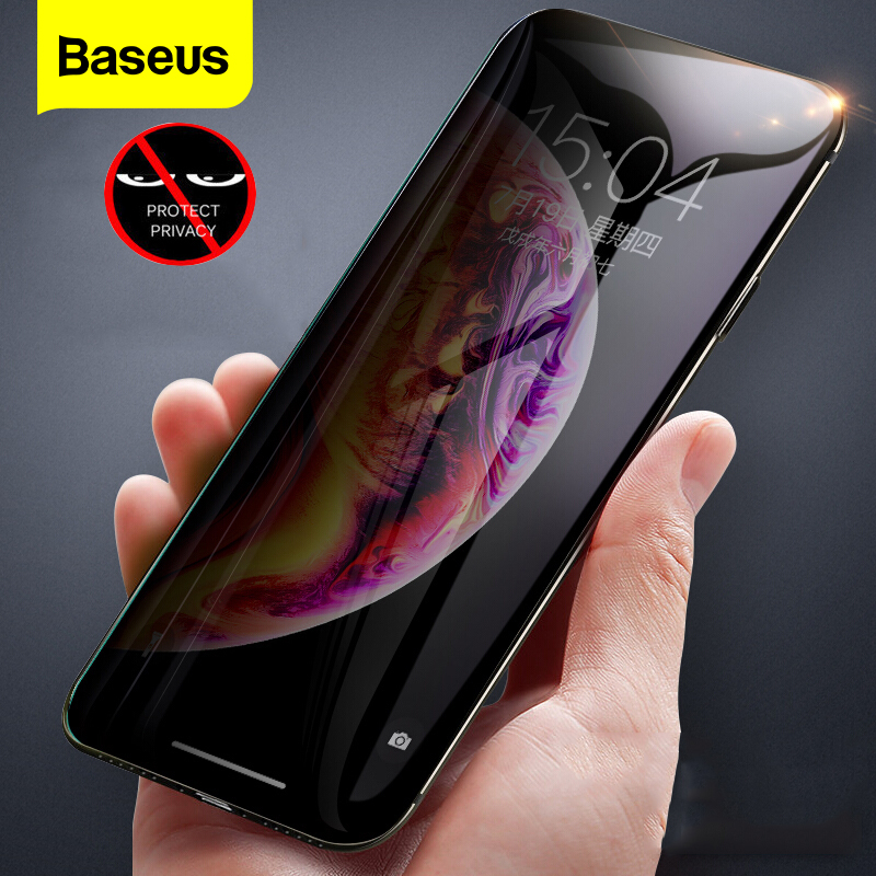 Baseus Privacy Protection Film Screen Protector for iPhone Xs Max Xr X Anti peep Tempered Glass Protective Cover For iPhone X S|Phone Screen Protectors| |  - title=