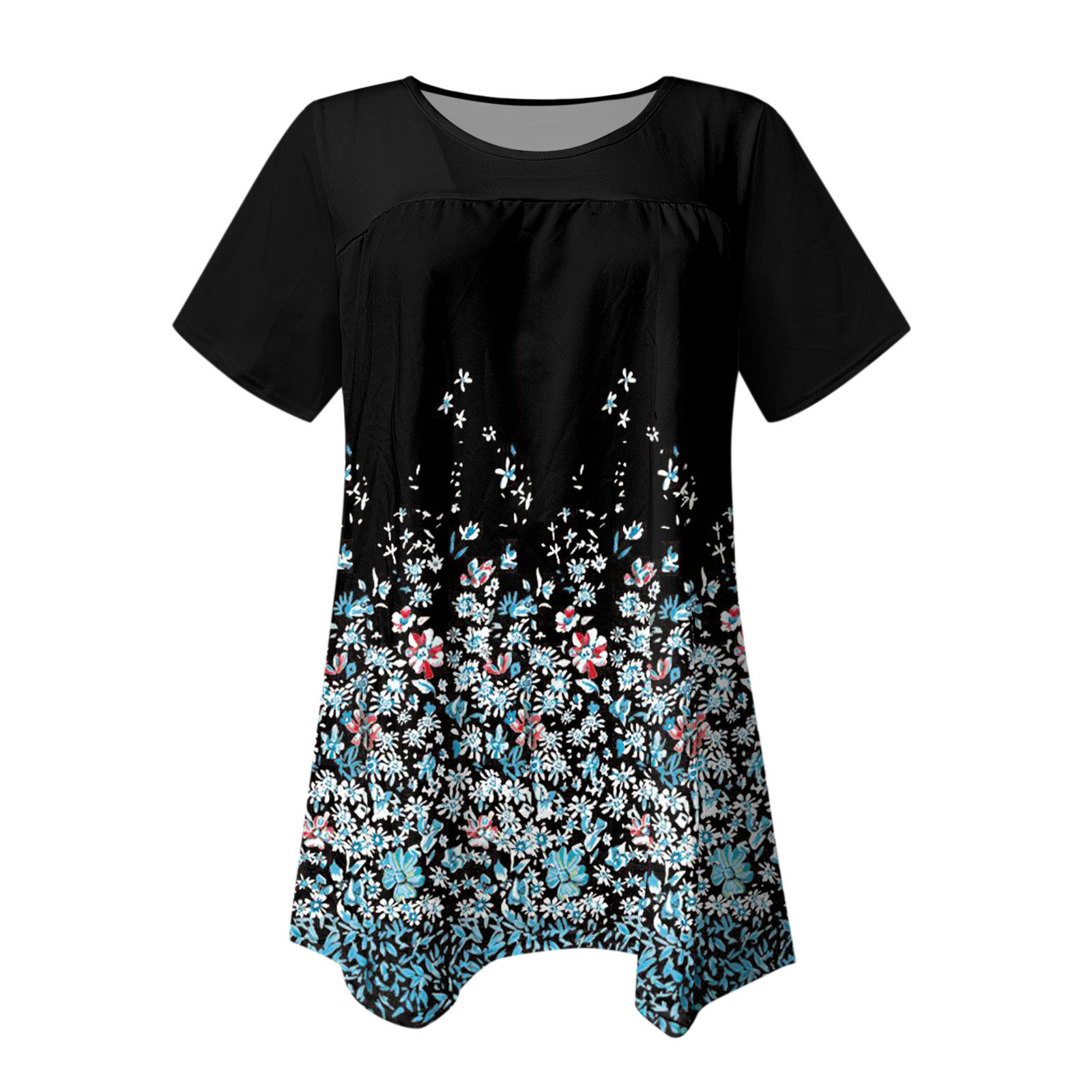 Floral Printed Casual Loose Women Tshirt O Neck Pleated Patchwork Short Sleeved Graphic Tee Stretch Basic Top Tunics Футболка  5