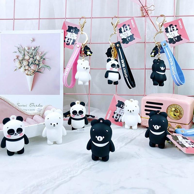 cartoon Anime Bears Cute Three Animal Bears Doll Keychains Women Car Bag Pendant Belt Trinkets Key Chains