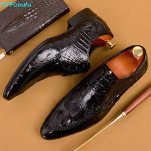 QYFCIOUFU Fashion Italian Crocodile Shoes Male Genuine Leather Oxford Shoes For Men Handmade Office Wedding Formal Dress Shoe