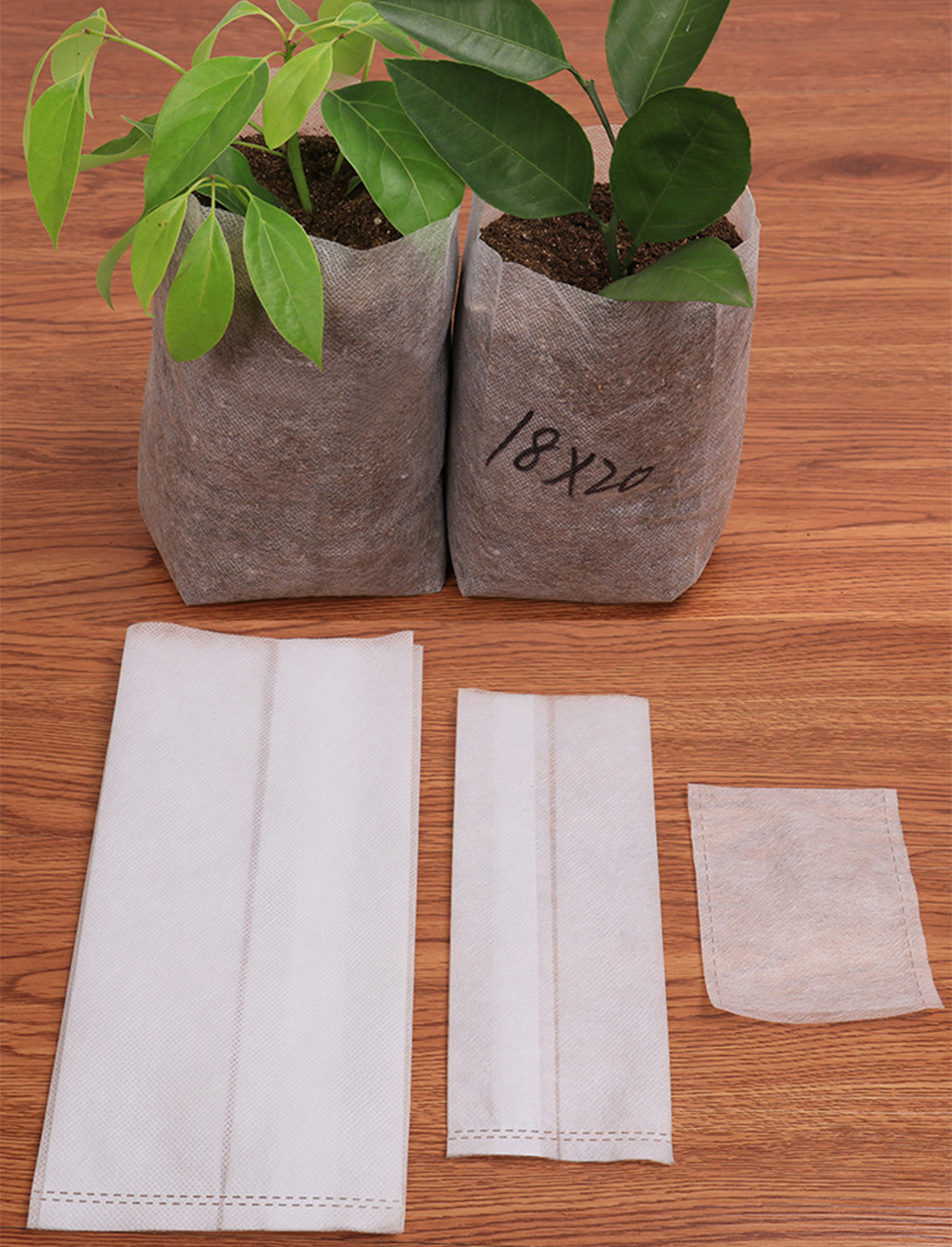 100Pcs Different Sizes Biodegradable Non-woven Nursery Bag Plant Grow Bags Fabric Pouch Seedling Pots Planting Eco-Friendly