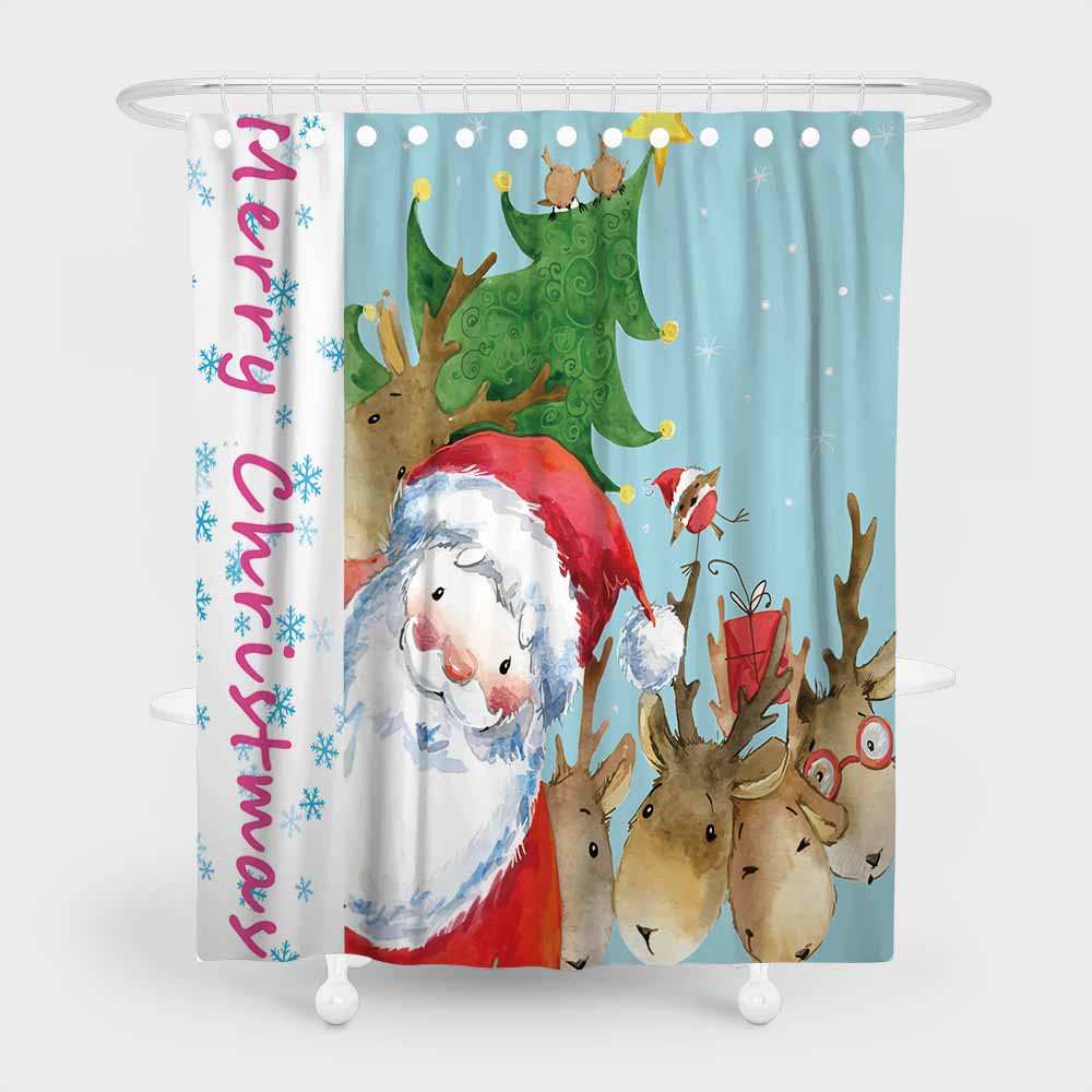 Christmas Cartoon Horse Bathroom Fabric Shower Curtain Set 71Inches Long