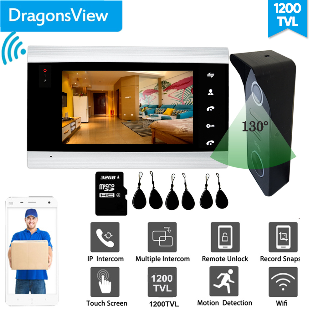 【RFID Card】Dragonsview 7 Inch Video Door Phone Wifi Wireless RFID Video Doorbell with Camera Wide Angle Unlock IOS Android