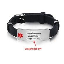 Bracelet Medical-Alert Silicone Wristband Kids Jewelry Adjustable Men's Male Length ICE