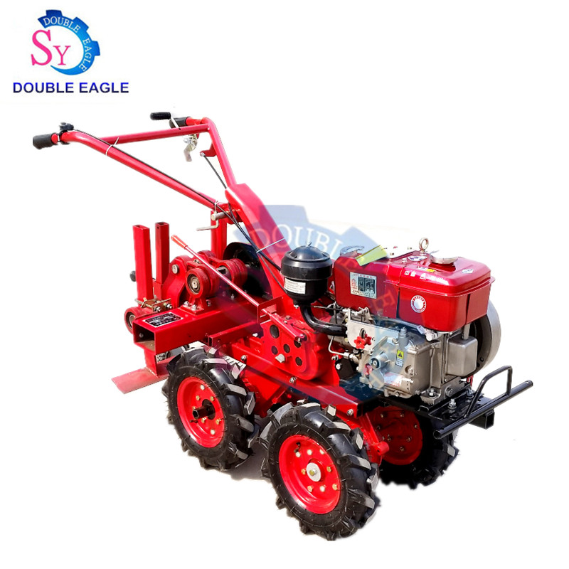 Factory Direct Sale Cheap 4 Wheel Hand Tractor Drive Garlic Picking Machine/garlic Harvester Agricultural Machinery
