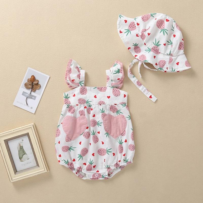 2Pcs Newborn Girls Rompers Flare Sleeve Floral Bodysuit Jumpsuit+Headband Set US
