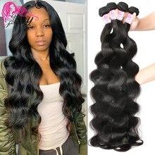 Belleza para siempre pelo brasileño onda del cuerpo 4 mechones 100% ondas de pelo humano Remy Color Natural se puede teñir