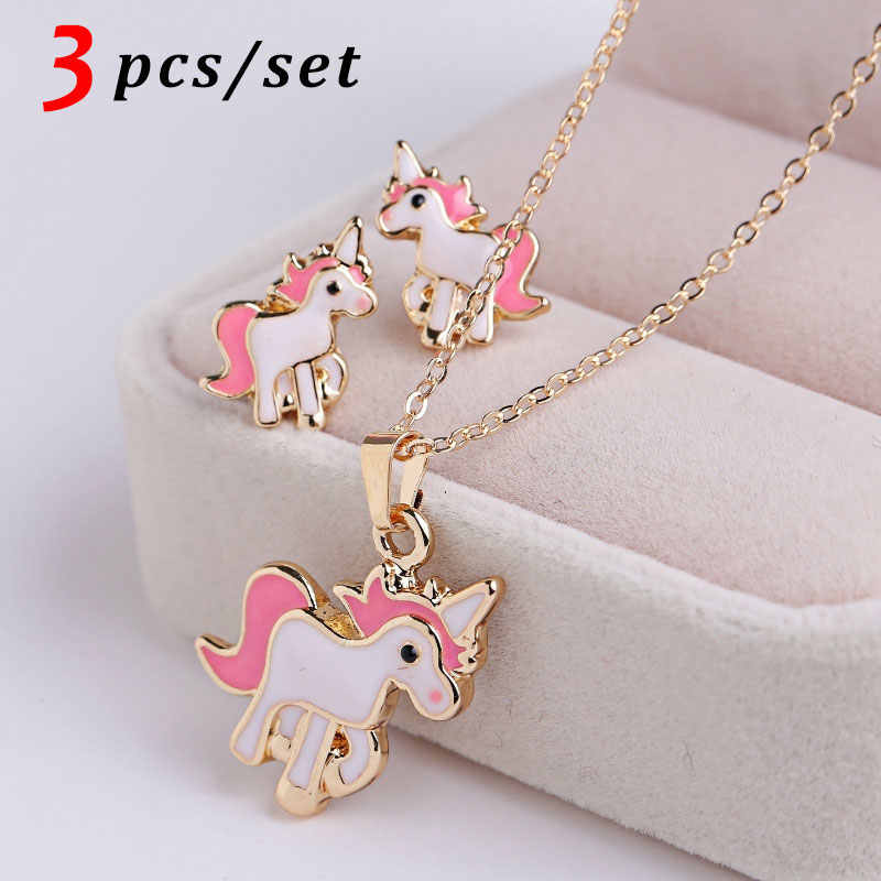 3PCS/Set  Pendant Necklaces Ring Set Pink Horse Unicorn Jewelry Accessories Necklaces  for Women Girl Kits Gifts Wedding Party