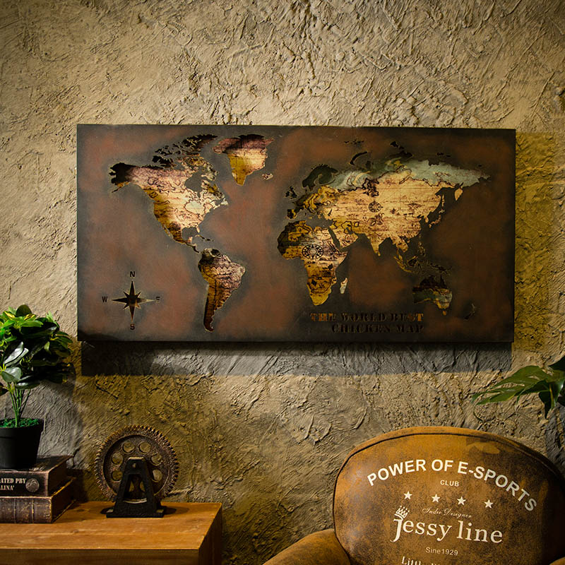 3D World Map Painting Board Bar Restaurant Wall Pendant Personality LOFT Industrial Wind Living Room Bedroom Wall Decorations