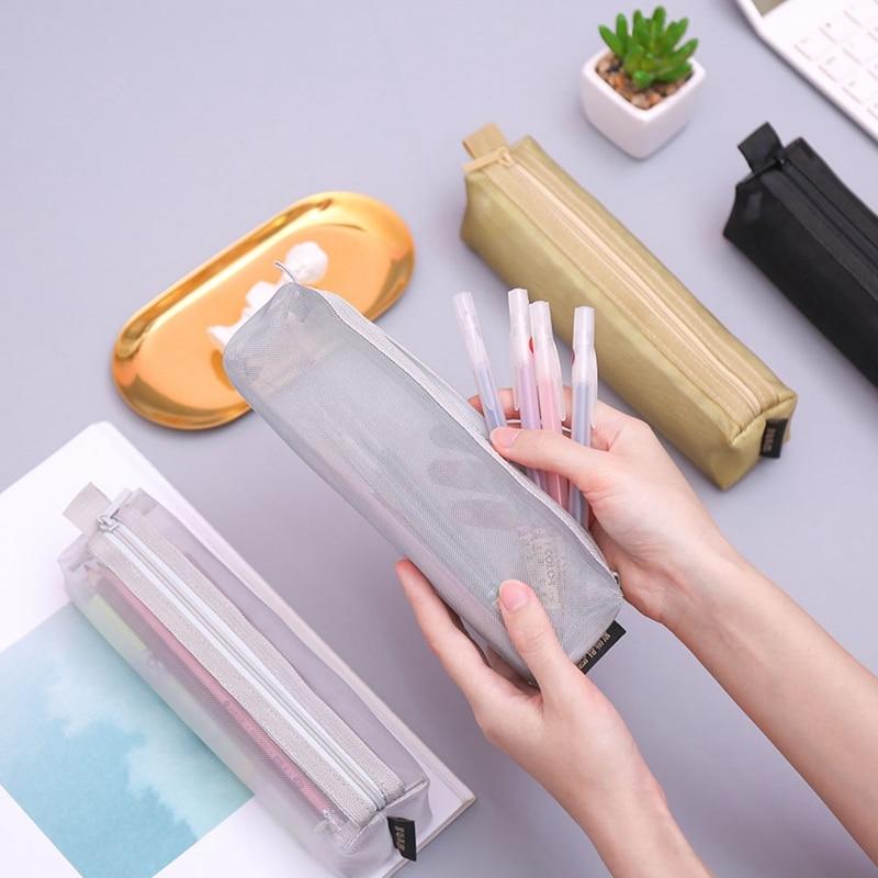 Transparent Gauze Solid Color Transparent Mesh Pencil Case School Student Supplies Pen Box Pen Bag Stationery Storage Bag thumbnail