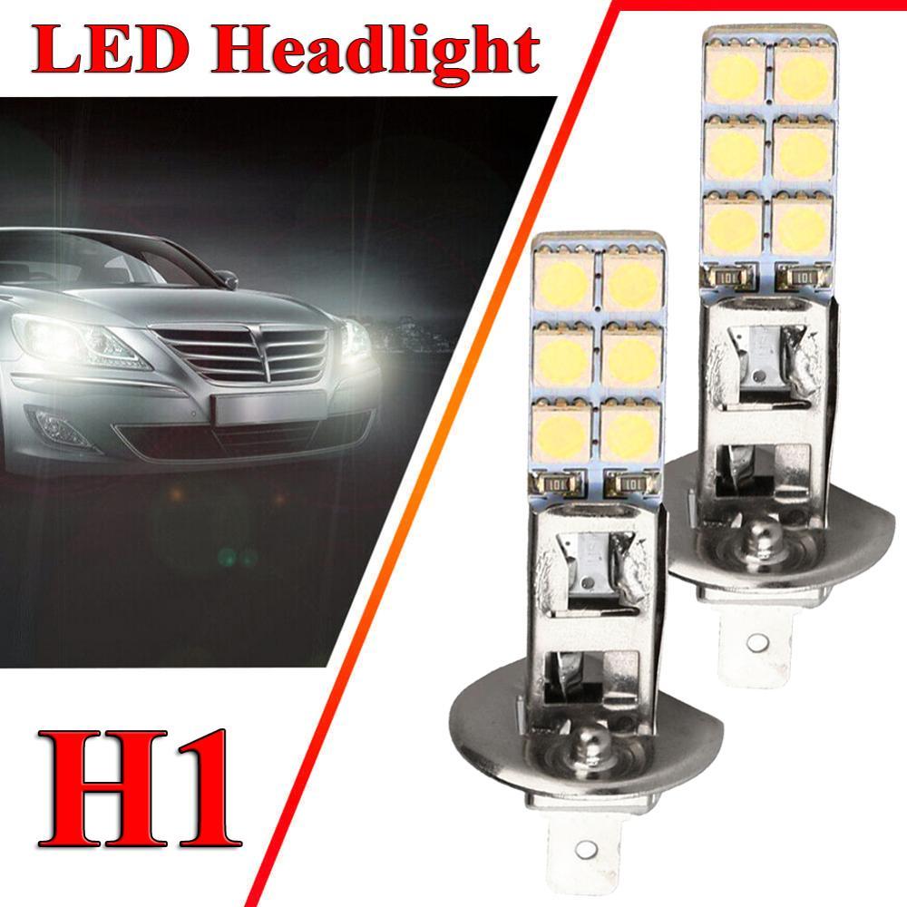 2Pcs H1 LED Car Fog Driving Light Headlight Replacement Bulb Super Bright 55W Car Light White Bulb Kit Headlight Bulbs Car Light
