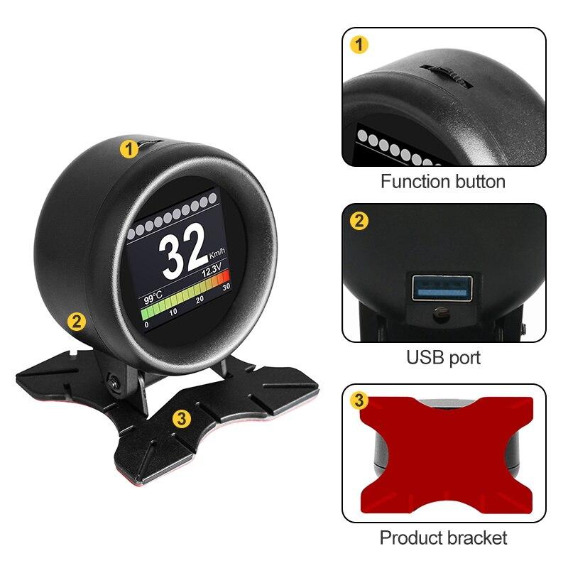 MR CARTOOL M3 Car OBD2 HUD Head-Up Display GPS Speedometer Overspeed Warning Oil Water Temp Gauge Digital OBD2 Diagnostic Tool 2