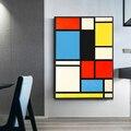 Домашний декор Piet Cornelies Mondrian классическое искусство Геометрическая линия красный синий желтый композиция холст печать постер Настенный де...