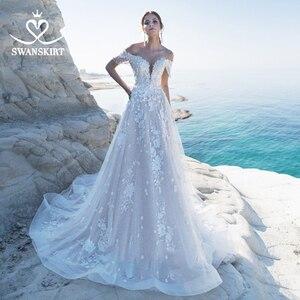 Image 2 - Sweetheart 3Dดอกไม้งานแต่งงานชุดSwanskirt Appliquesปิดไหล่A Lineลูกไม้เจ้าหญิงชุดเจ้าสาวVestido De Noiva LZ22