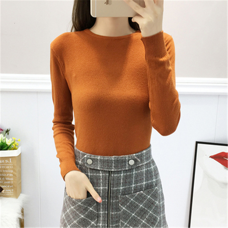 Casual Classic O-Neck Slim Solid Fashion Warm Knitted Sweater Pullover Autumn Knitwear Sueter Mujer Long Sleeve Women New 2019
