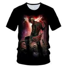 Kafatas gzellik serin 3D t shirt erkek motosiklet Punk 3D baskl T gmlek erkekler giysi tshirt yaz st Homme Hipster pop gm