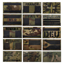 Multicam Flag France Spain America Canada Israel AU NL UK POLICE Specail Force IR Infrared Military Reflective Patches Badge