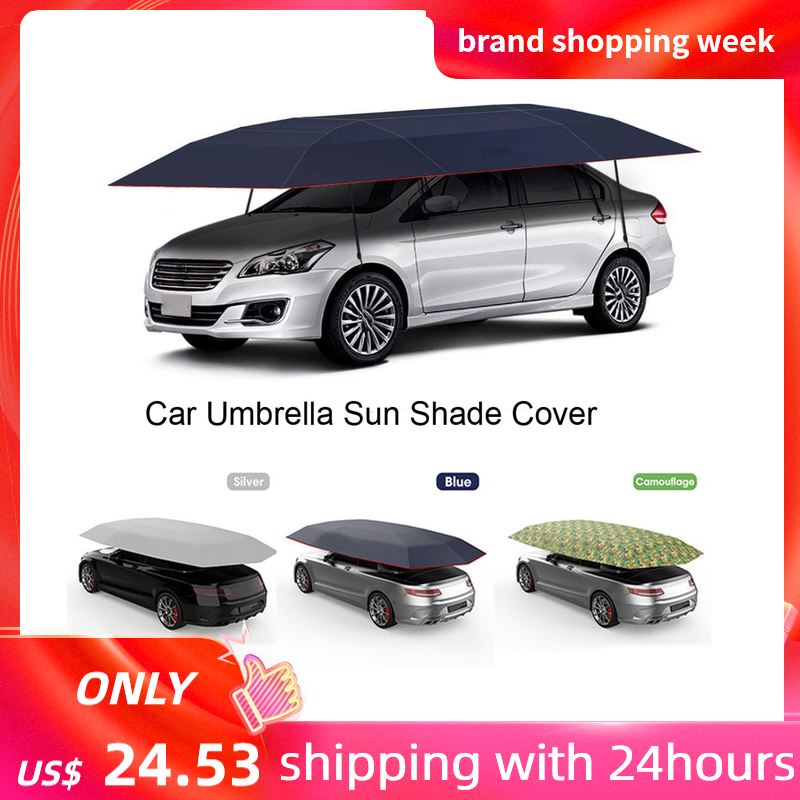 KKMOON 4.2*2.1M Outdoor Car Vehicle Tent Car Umbrella Sun Shade Cover Oxford Cloth Polyester Covers Without Bracket