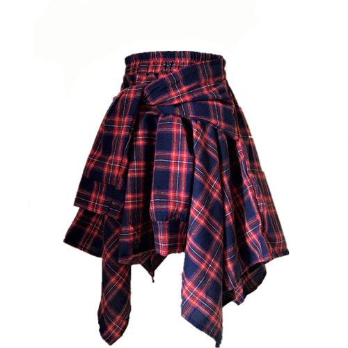 Summer New Women Chic Style High Waist Shorts Streetwear Harajuku Teen Girls Plaid Irregular Fake Two Piece Splice Bandage Skirt
