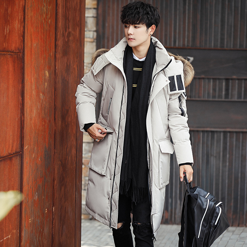 Outdoor Large Fur Collar Down Jacket Men And Women White Duck Down-Mid-length Thick Over-the-Knee Coat Cold High-Pile Down Jacke