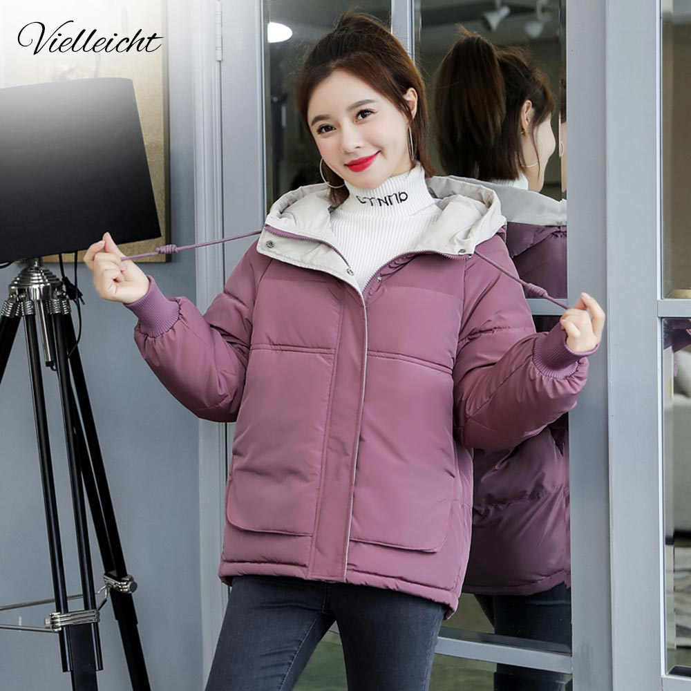 Vielleicht Women Winter Jacket Loose   Parkas   Patchwork Thickening Warm Coat Hooded Female Down Cotton-padded Short Jacket Coat