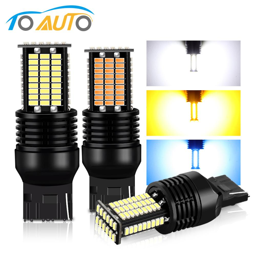 84SMD 3014 W21/5W W21W T20 LED 7440 7443 Bulbs WY21W Canbus Auto Turn Signal Light Reverse Tail Brake Lights 12V image