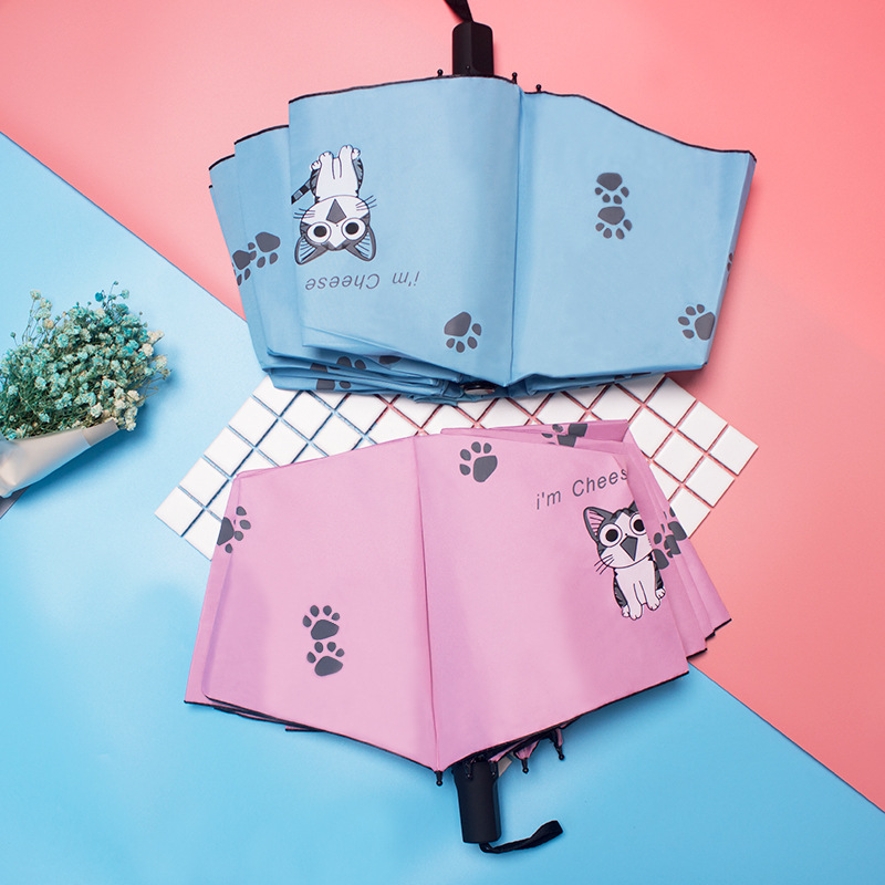 Parasol Kitty Vinyl Folding Umbrella Japanese-style Hipster UV-Protection Parasol A Generation Of Fat
