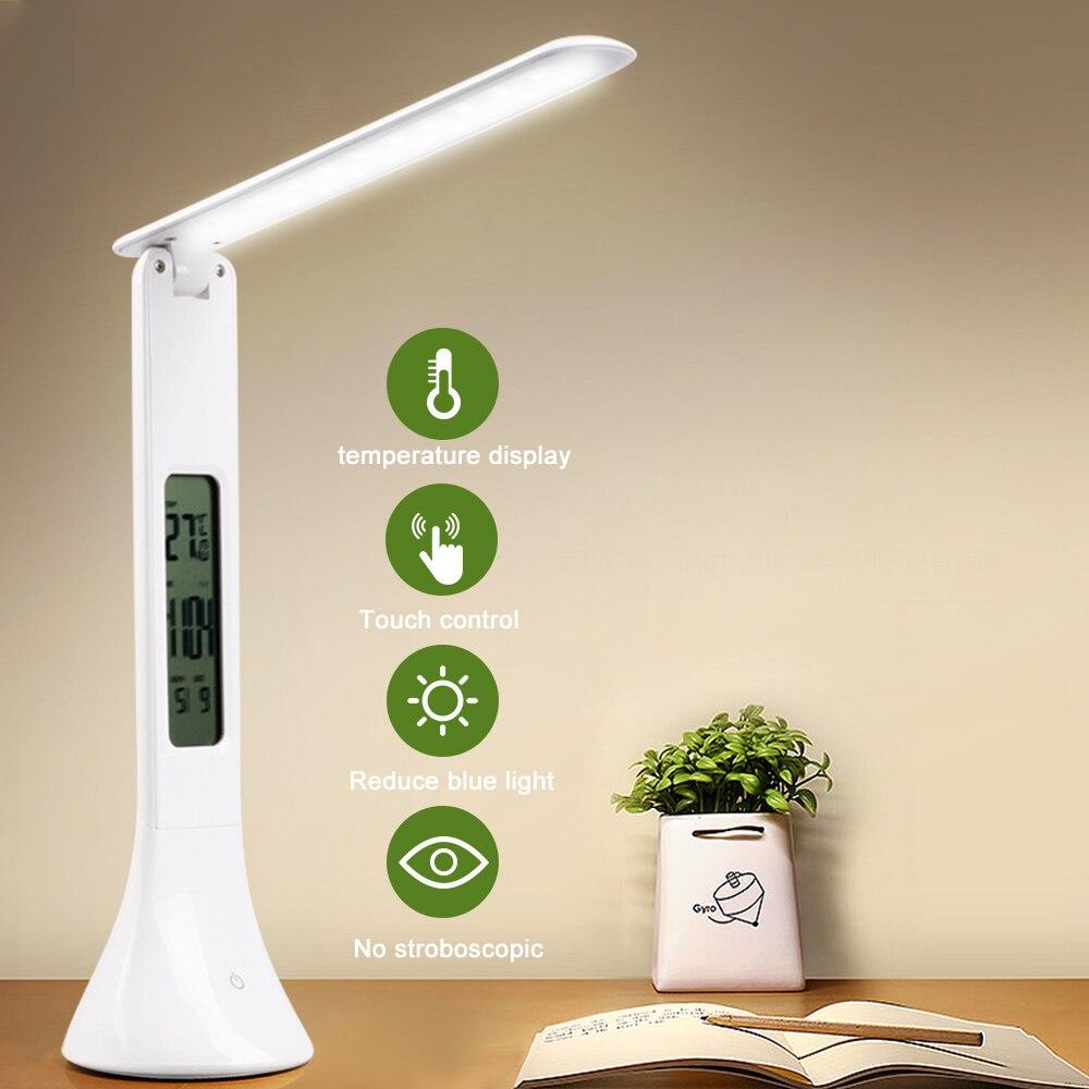Junejour led desk lamp dobrável regulável toque candeeiro de mesa com calendário temperatura despertador luz da mesa luzes da noite