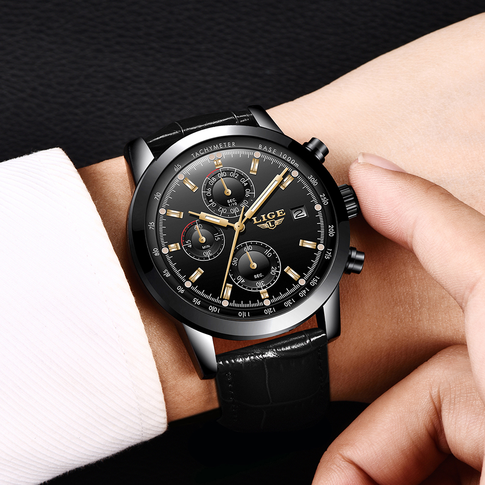LIGE Casual Sport Watches for Men Black Top Brand Luxury Military Leather Wrist Watch Man Clock Fashion Chronograph Wristwatch
