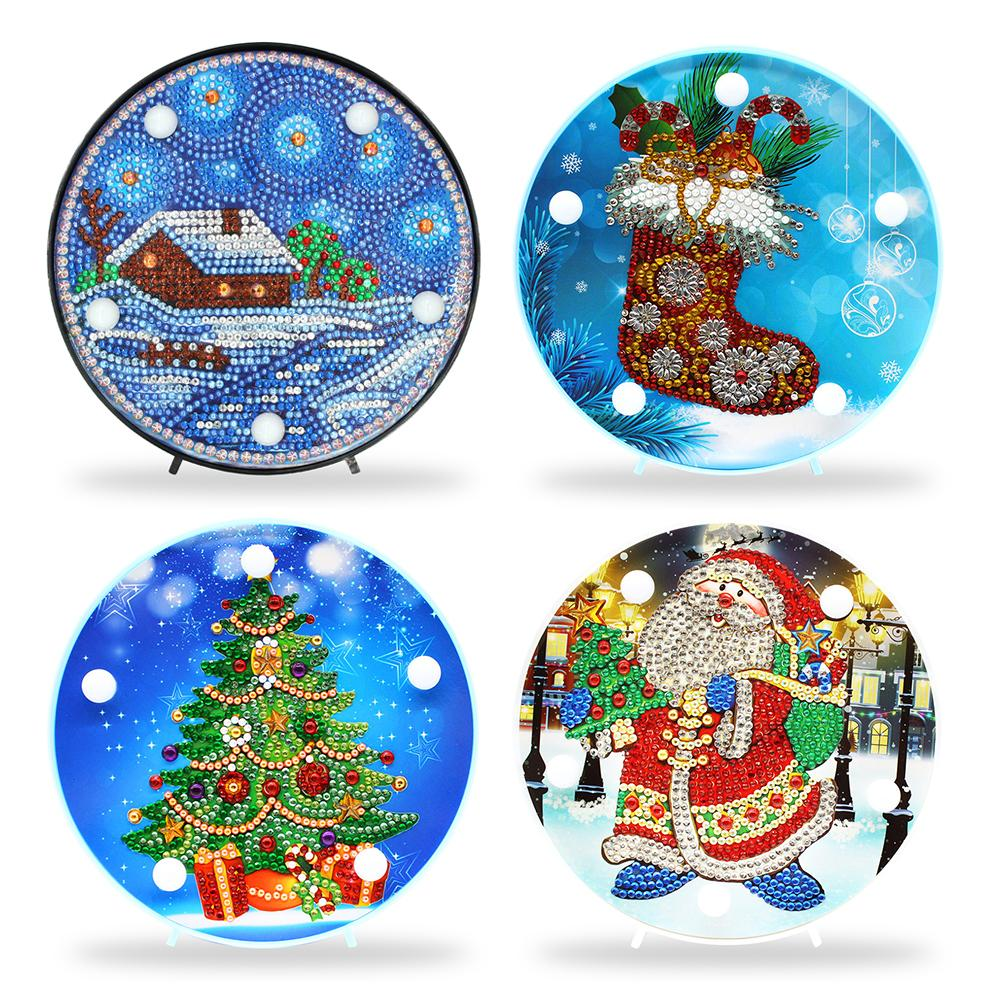 Newest DIY Diamond Painting LED Night Lamp Embroidery Mosaic Kit Christmas Decorations For Home Gift For Kids Fast Shipping